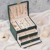 Belleza Beauty Luxe sieradenhouder - juwelendoos - Sieraden Opberger - Sieraden doos - juwelen doos - Ketting / Ring / Oorbellen / Horloge - Groen - Met slot