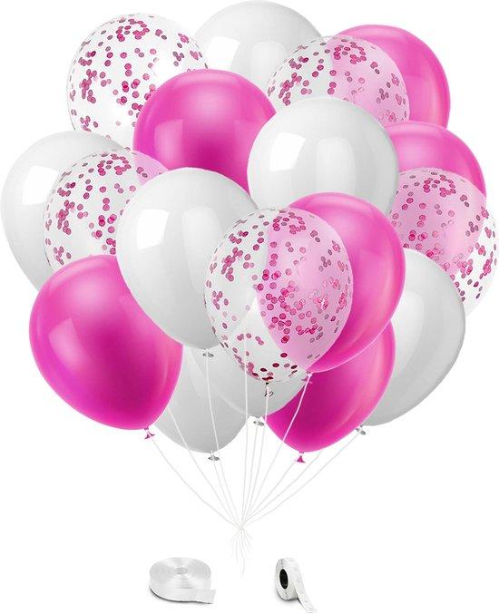 Roze, Wit & Confetti Ballonnen met Lint - 24 stuks - Versiering
