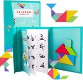 Fesio Tangram Puzzelboek Magnetisch - 96 Puzzels - Magneetboek/Houten Vormenpuzzel - Lichtblauw