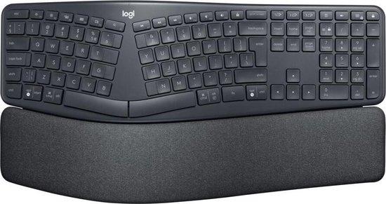 Logitech K860 ERGO Qwerty - Draadloos Ergonomisch Toetsenbord met Polssteun - Donkergrijs