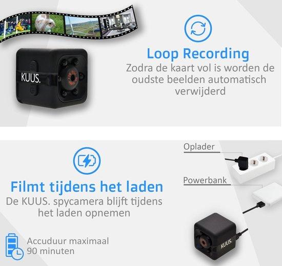 KUUS. Mini verborgen spy camera, beveiligingscamera. | Met 32 GB geheugenkaart | FULL HD 1080P