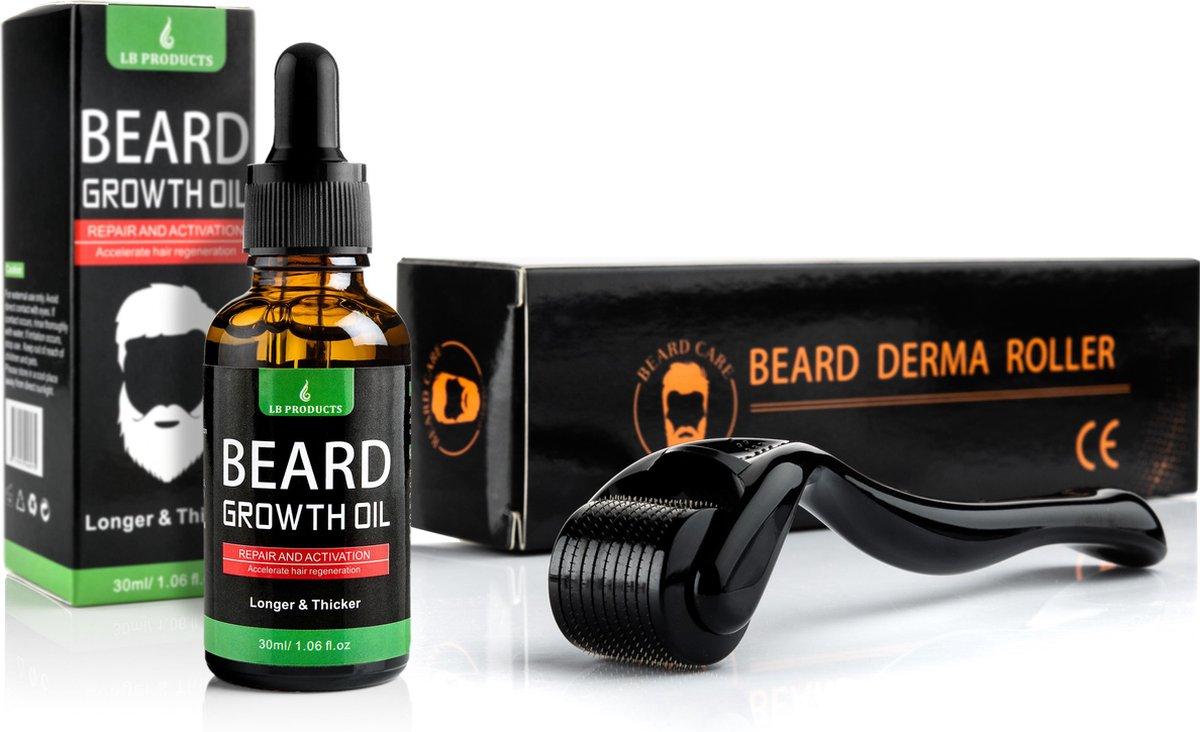 LB Products  Baardgroei Olie + Derma Baard Roller - 30 ml