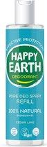 Happy Earth Pure Deodorant Spray Navulling Cedar Lime 300 ml - 100% natuurlijk