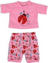 Dolldreams roze Pyjama met lieveheersbeestje voor poppen - Kleding voor pop tot 43CM, geschikt voor o.a. Baby Born