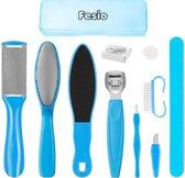 Fesio Pedicure/Voetverzorging Set 10-Delig met Opbergdoos - Eelt Verwijderaar Set - Blauw
