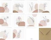 Fabrikten - Wenskaarten set – 10 stuks – 13,5 x 13,5 cm - Terra