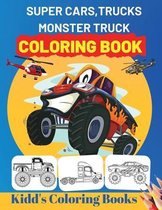 Super Cars, Trucks, Monster Truck Coloring Book