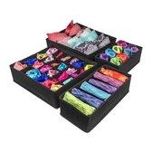 Buxibo Kleding Opbergbox Set - Opvouwbare Kastlade Verdeler / Onder Bed Organizer Opberger - BH/Sokken/Ondergoed - Opbergsysteem Met Vakken - 4 Stuks - Zwart