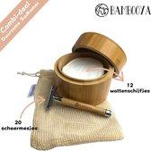 Bambooya Zero Waste Badkamer Pakket - Bamboehouder incl.  12X Herbruikbare wattenschijfjes + Waszak - Safety Razor + 20 Scheermesjes - Scheermes Vrouwen – Bamboo