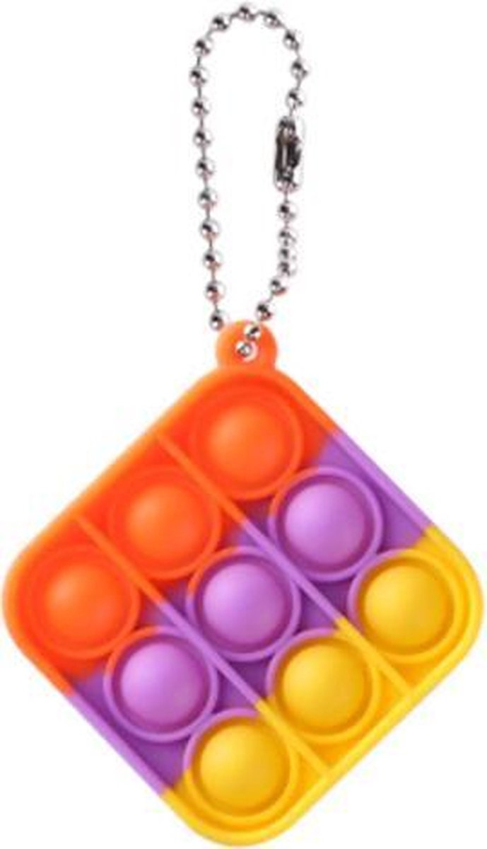 Pop it sleutelhanger   fidget toys   regenboog vierkant
