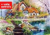 The Painting Club®️ Diamond painting voor volwassenen – MET VELE EXTRA's – Huis in bloementuin 30x40cm - diamondpainting – uitgebreide starterskit met 13 extra opzetstukjes - Natuur - Huis - Bloemen