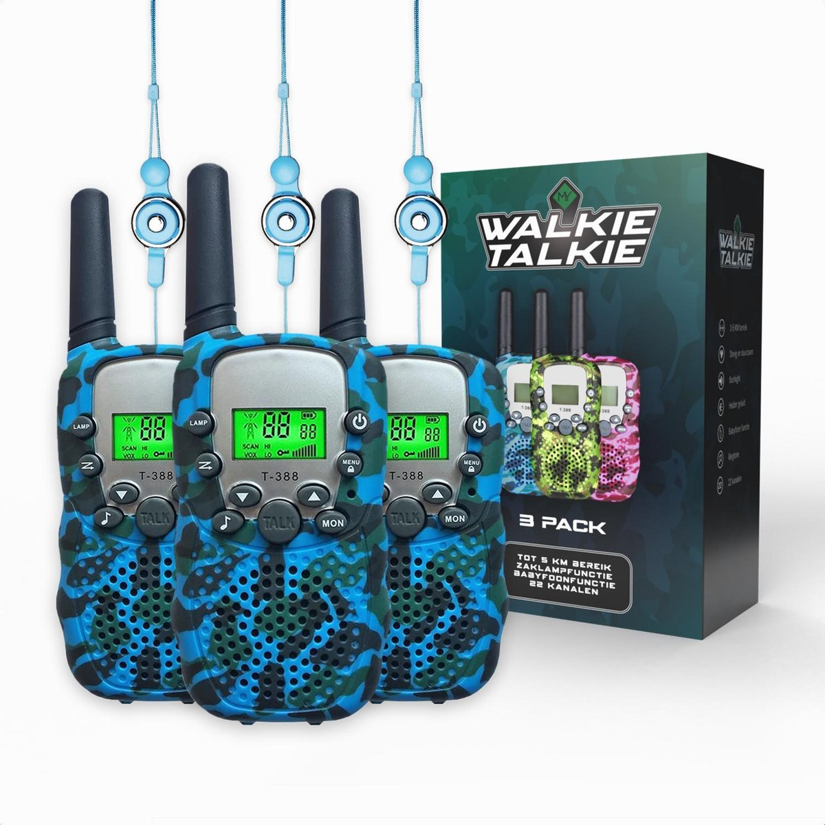 M.Y.© Premium Walkie Talkie Voor Kinderen en Volwassenen 3-PACK - Portofoon Tot 5 KM Bereik - Gratis Koordjes - Camouflage Blauw