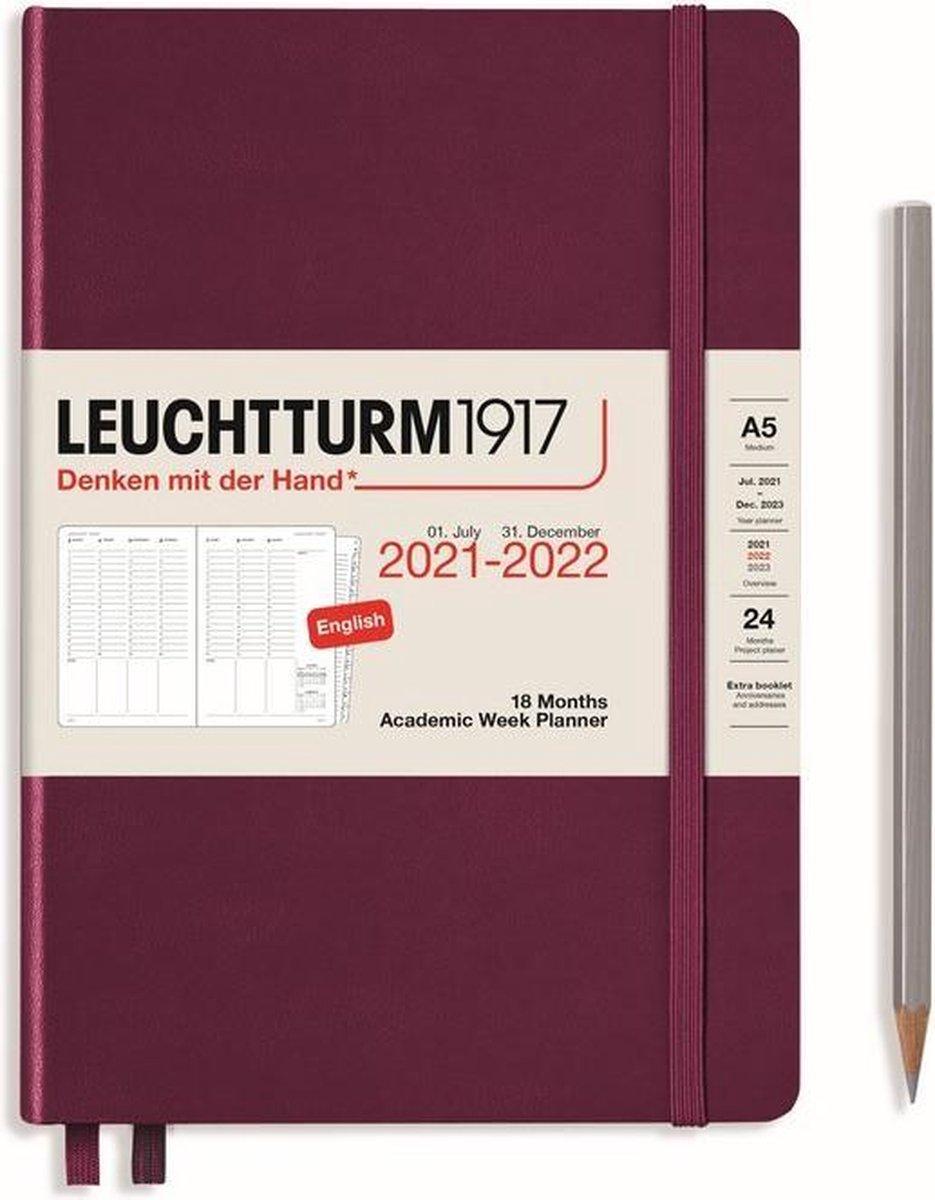 Leuchtturm - Agenda en Notities - 2021-2022 - Academische weekplanner - 18 maanden - A5 - 14,5 x 21 cm - Hardcover - Port Rood
