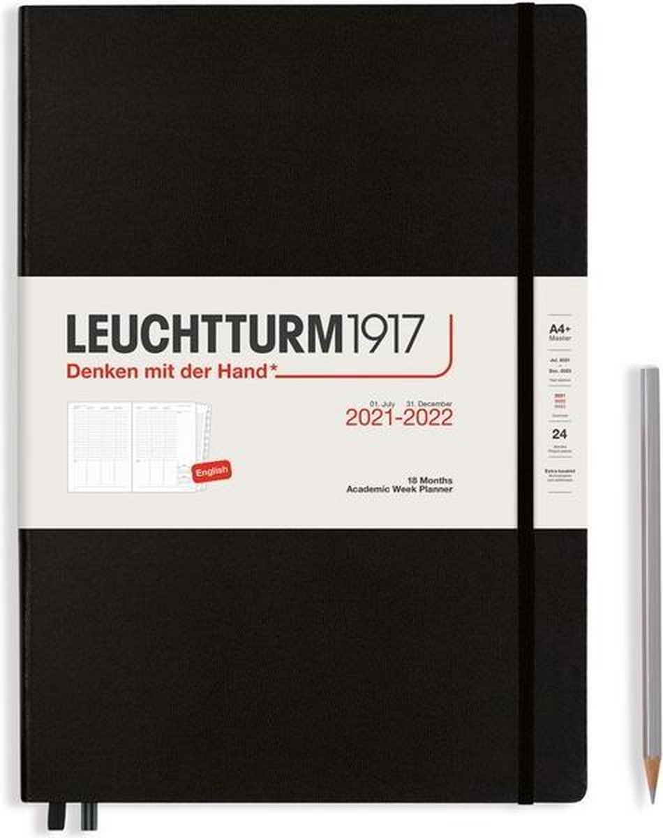 Leuchtturm - Agenda en Notities - 2021-2022 - Academische weekplanner - 18 maanden - A4 - 21 x 29,7 cm - Hardcover - Zwart