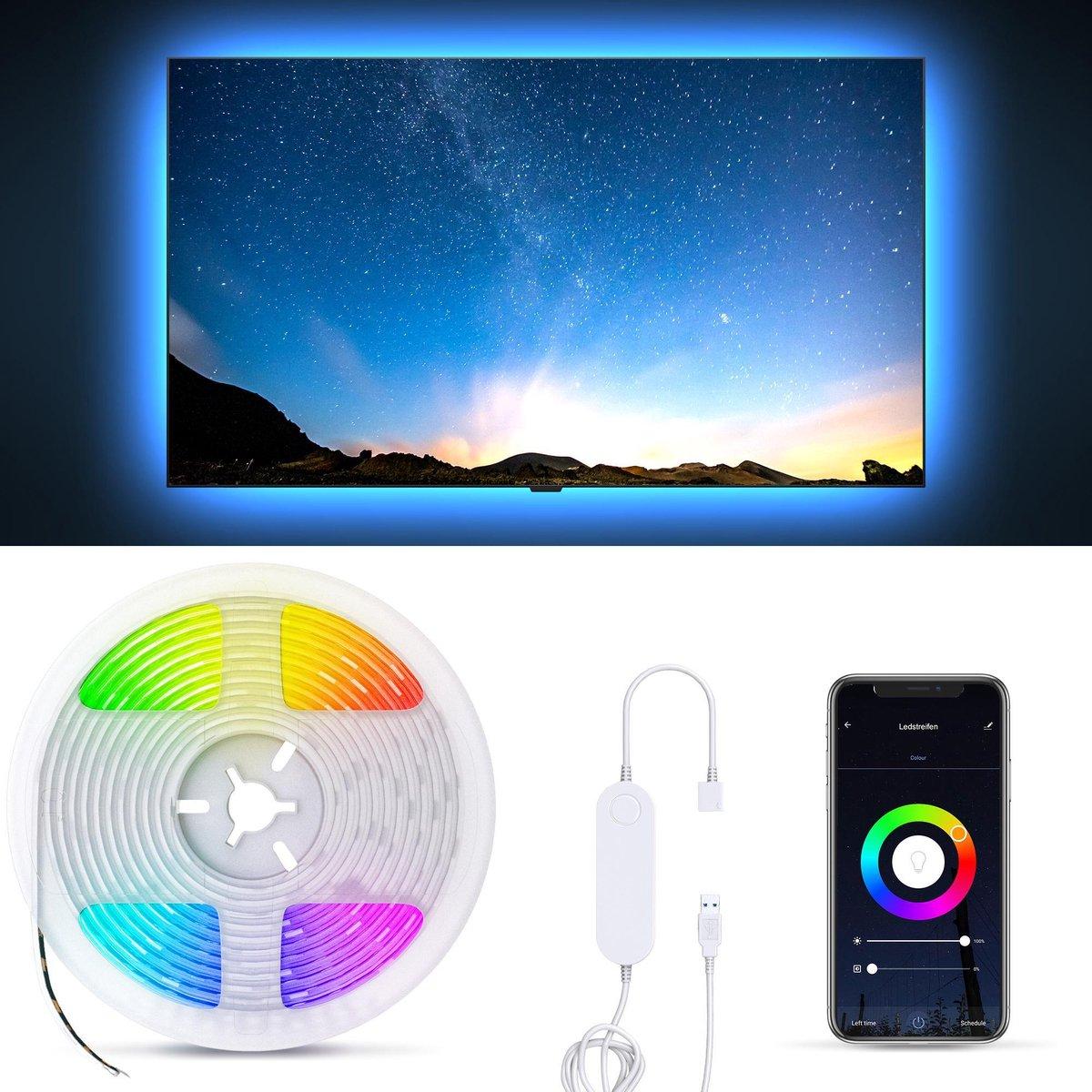 B.K.Licht - LED Strip smart - 2 meter - voor TV en PC - WiFi - App controle - USB - zwart - siliconencoating - zelfklevend