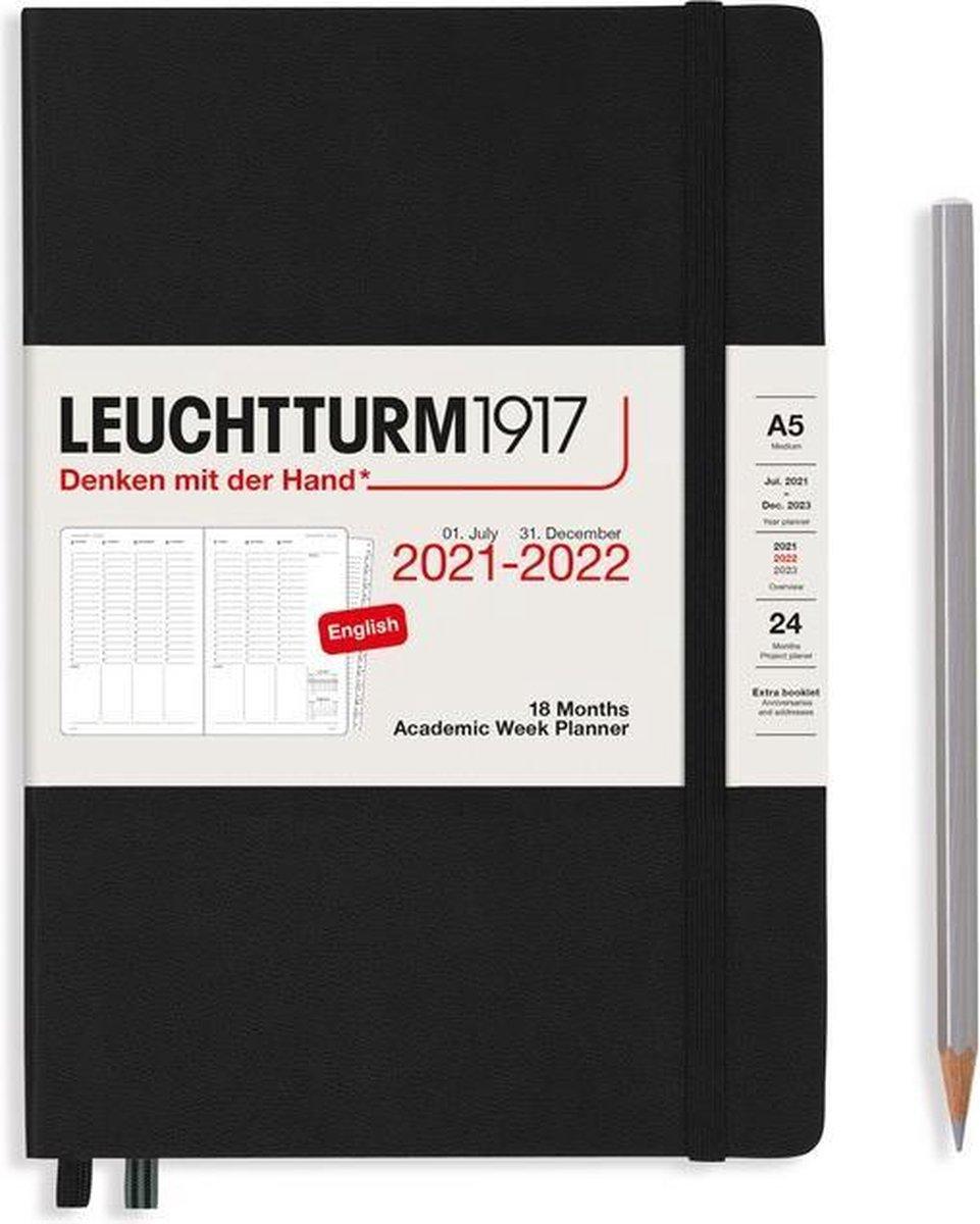 Leuchtturm - Agenda en Notities - 2021-2022 - Academische weekplanner - 18 maanden - A5 - 14,5 x 21 cm - Hardcover - Zwart