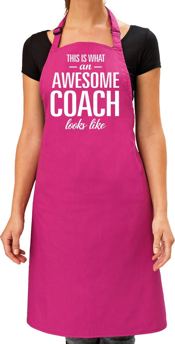 Awesome coach cadeau bbq/keuken schort roze voor dames - kado barbecue schort - verjaardag