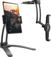 LURK® 3-in-1 tablet houder 2.0 - Universele stadaard voor Smartphone & Tablet – Bureau tablet standaard en muurbeugel/wandhouder – Compact verstelbaar en draaibaar - zwart