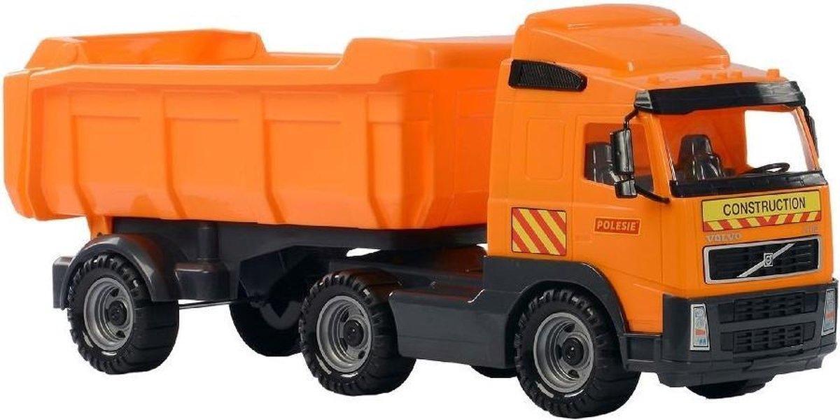 Speelgoed oranje kiepwagen auto voor jongens 59 cm - Buiten/binnen speelgoed auto's - Vrachtwagen me