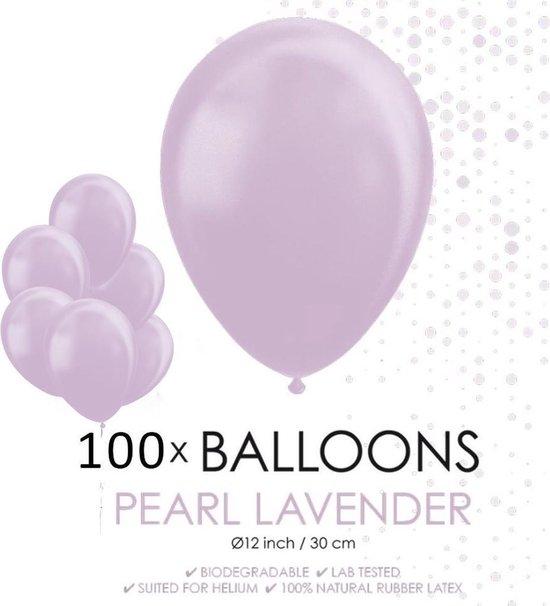 100 Parel lavendel ballonnen 30 cm.