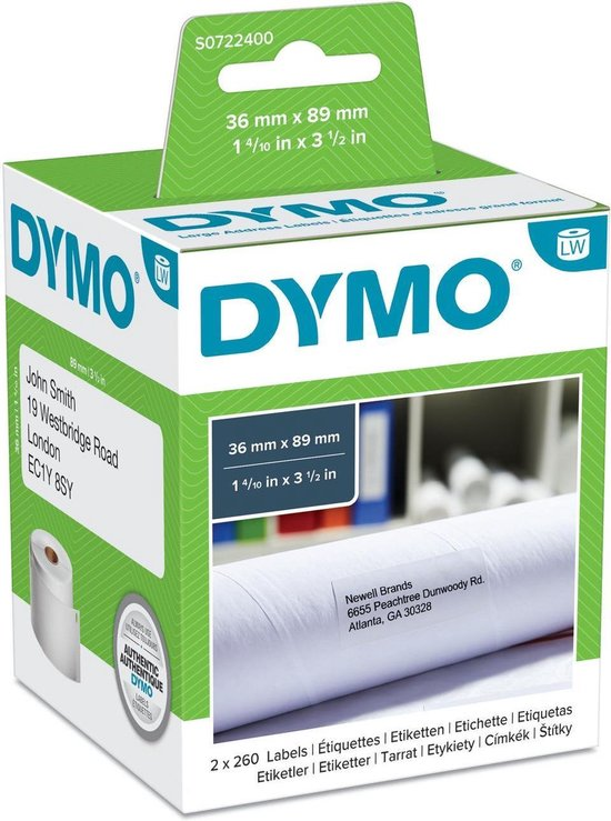Afbeelding van Dymo Etiket 99012 - labelwriter - 36x89mm - 520stuks