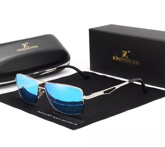 Kingseven Polaroid Zonnebril - Pilotenbril- Heren - 2021 - Gepolariseerde glazen - Zwart - Blauw - Sunglasses
