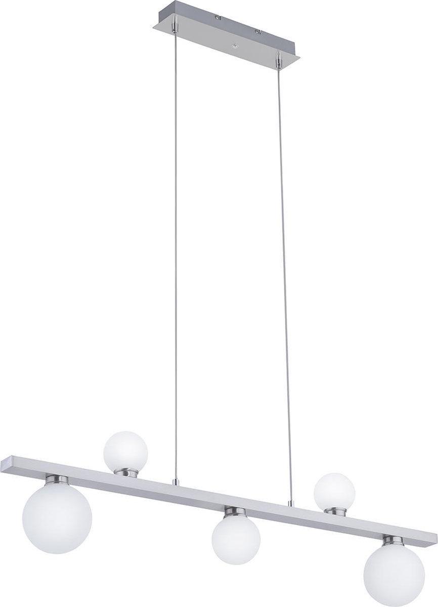 LED Hanglamp WiZ - Smart LED - Iona Dulpio - 15W - Aanpasbare Kleur - 5-lichts - Dimbaar - Rechthoek - Mat Nikkel - Aluminium