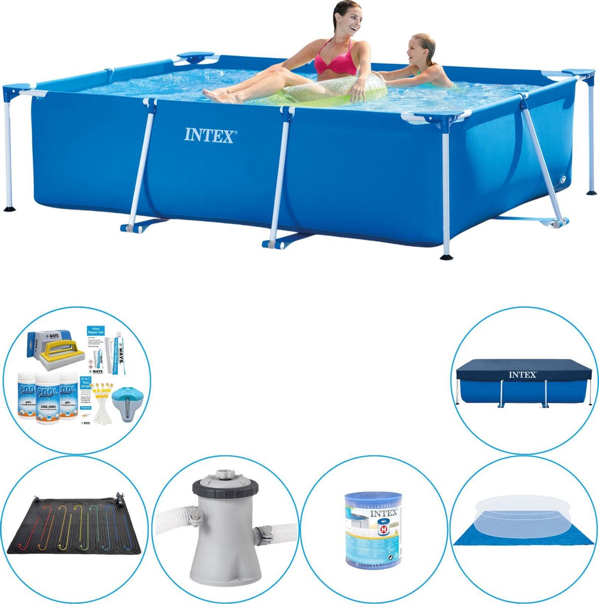 Intex Frame Pool Rechthoekig 220x150x60 cm - Zwembad Plus Accessoires