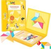 Fesio Tangram Puzzelboek Magnetisch - 96 Puzzels - Magneetboek/Houten Vormenpuzzel - Geel