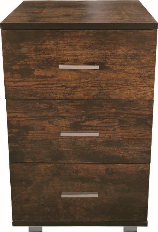 Nachtkastje - halkastje - 3 lades - 63 cm hoog - vintage bruin