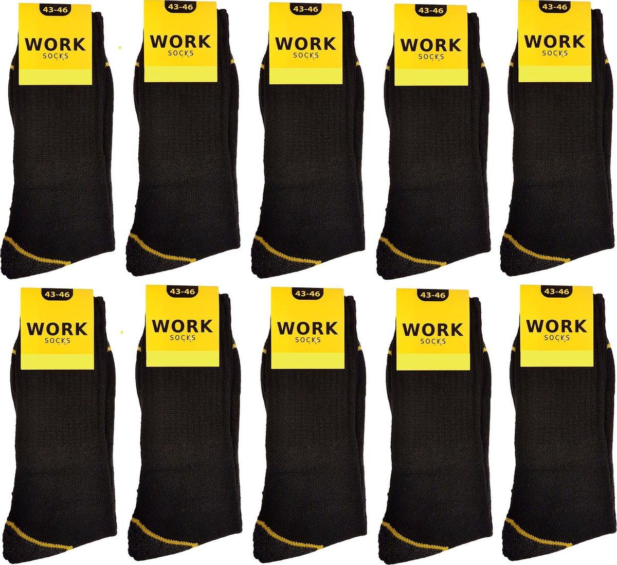 Work Werksokken - 10 paar - Zwart - Maat 43 - 46