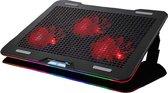Fuegobird Laptop Cooler - Laptophouder en koeler - 3 ventilatoren - Verstelbaar - RGB - Max 17 inch - Zwart