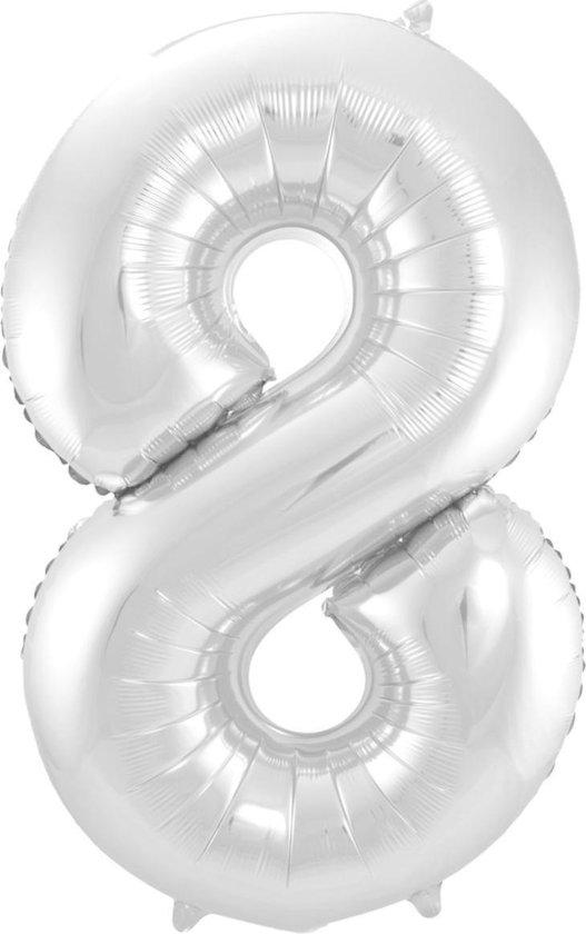 Ballon Cijfer 8 Jaar Zilver 70Cm Verjaardag Feestversiering Met Rietje