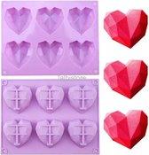 Siliconen mal harten - chocolade - diamanten - 3D heart - bakvorm - bonbons - mold - bakvormen