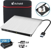 Achaté Externe DVD/CD Speler 3.0 en Brander voor Laptop - Windows & Mac - USB + USB-C + Beschermhoes