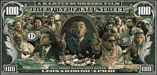 Wanddecoratie - Canvas Doek - The Wolf of Wall Street - Bankbiljet - Poster - 50 x 100