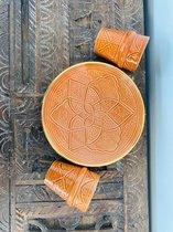 Terracotta Keramiek bord|Handgemaakt versierd met goud|Marokkaanse Aardewerk| Beldi