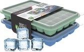 KitchenLove Siliconen IJsblokjesvorm met Deksel (2 Stuks) - 56 ijsblokjes - Vierkant - BPA Vrij - 100% Silicone - Groen & Blauw