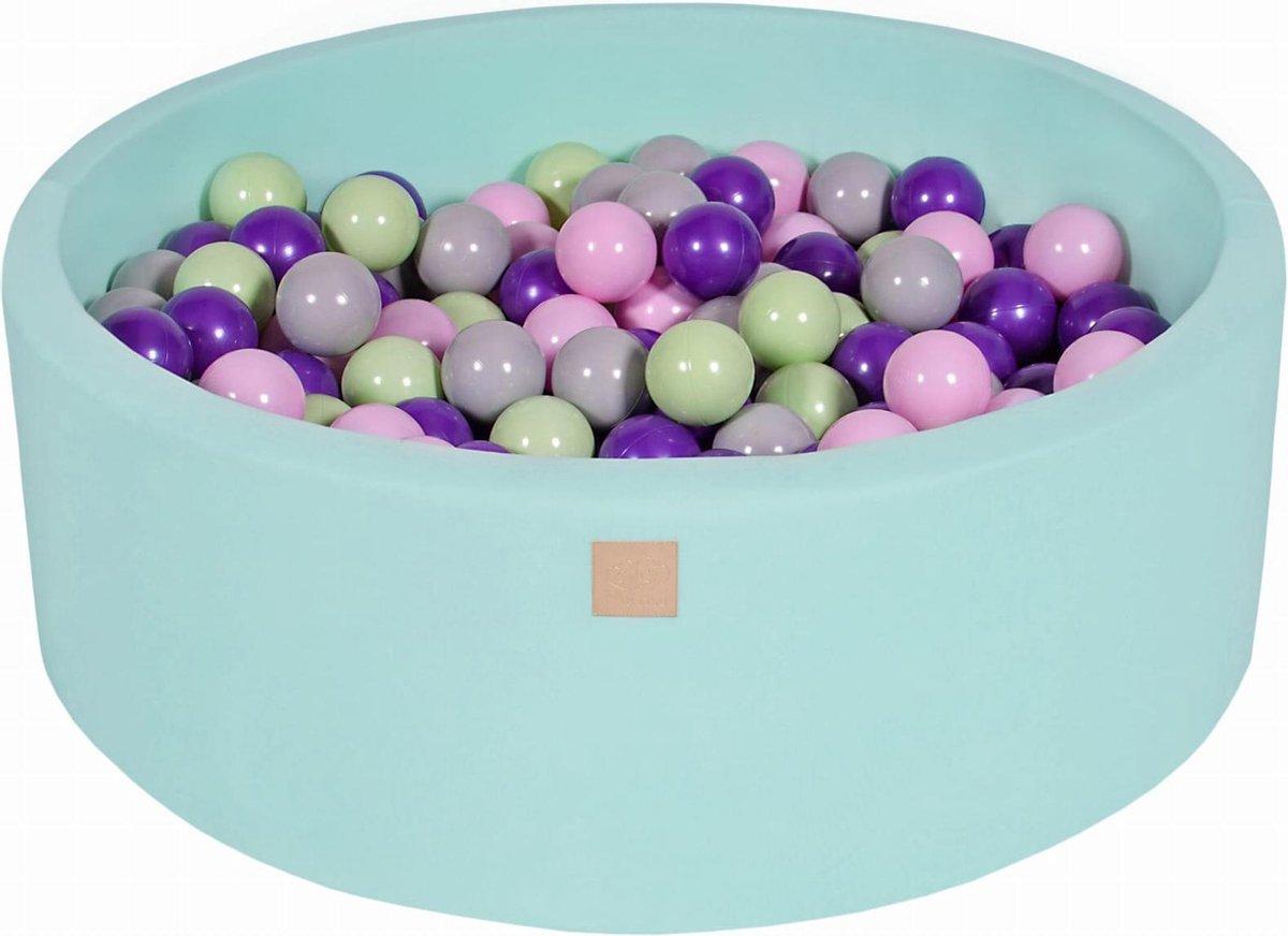 Ronde Ballenbak set incl 300 ballen 90x40cm - Mint: Roze, Grijs, Violet, Licht Groen