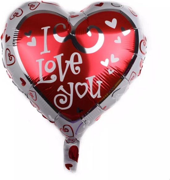 Rode I Love you folie ballon/Trouwen/Moederdag/Vaderdag/