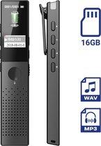 TIKKENS Digitale Voice Recorder / Dictafoon - 16GB Interne Opslag - USB Oplaadbaar - MP3 en WAV Ruisonderdrukking - Inclusief Oortjes - Klein & Compact Mini Formaat - Zwart