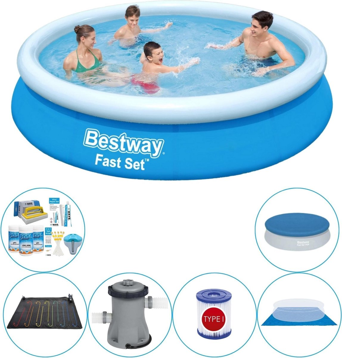 Bestway Fast Set Rond 366x76 cm - Zwembad Combi Deal