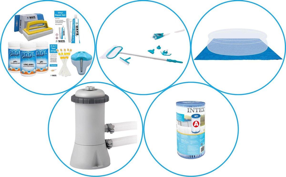 Zwembad Accessoirepakket 4-delig - WAYS Onderhoudspakket & Filterpomp (28604GS) + Filter & Onderhoudsset Deluxe & Grondzeil
