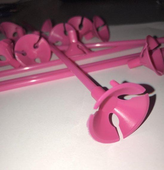 20 x Roze Ballonstokjes inclusief Cups - 27 cm Lang - Ballonnen - Feestversiering