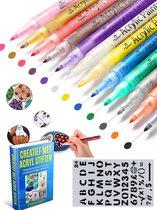 Afbeelding van Crafterman Acryl stiften - waterbasis - verfstiften - happy stones - stenen schilderen - 12 stuks - met Stencil en e-Book