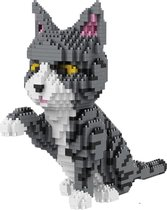 Balody Grijs-Witte kat - Nanoblocks - bouwset / 3D puzzel - 1300 bouwsteentjes