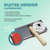 Borstel Duitse Herdershond - Handzaam - Sterk - Duurzaam hout en metaal - Maakt de vacht van je Duitse Herdershond weer klit- en viltvrij - hondenvacht borstel
