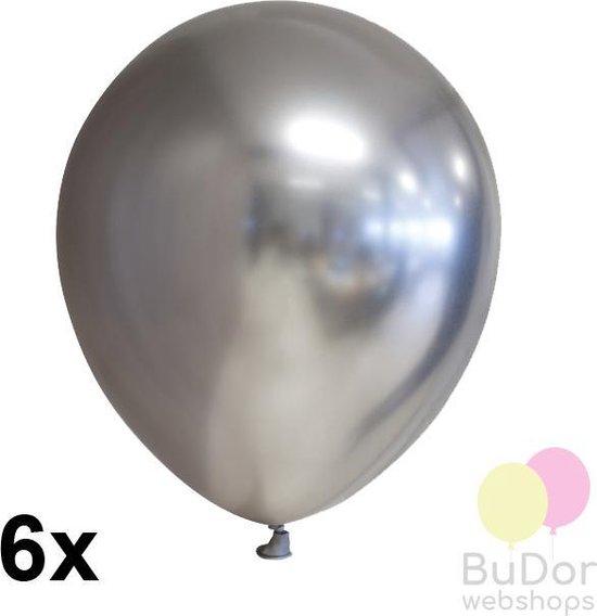 Chrome ballonnen, zilver, 6 stuks, 30 cm