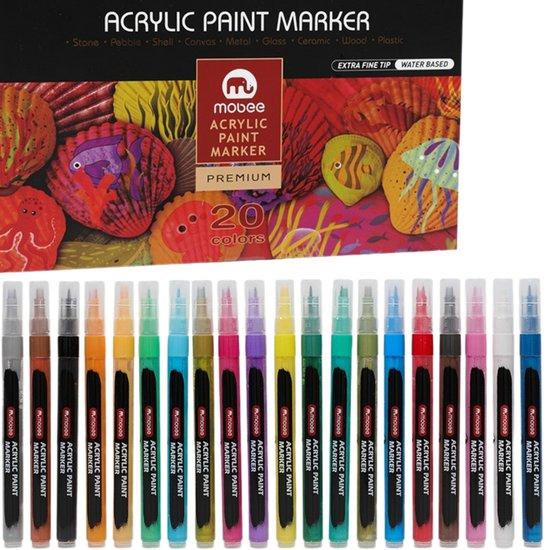 Afbeelding van HappyStone beschilderen - Acryl marker stiften 0,7 mm fijne punt - inclusief Sjablonen - 20 kleuren - Acrylverf - Tekenset - Mandala - Acrylstiften voor stenen schilderen - Happy Stones maken