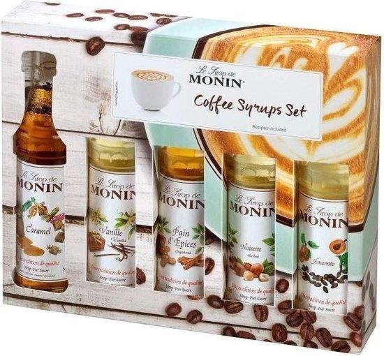 Monin 5 smaken 5cl Koffiesiropen koffie cadeau Pakket 5x5cl